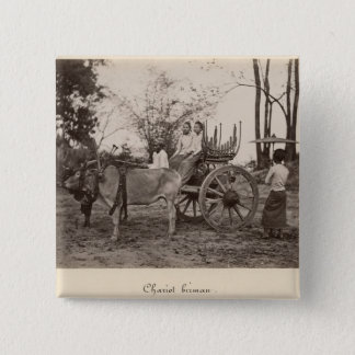Cart pulled by two oxen at Mandalay, Burma 15 Cm Square Badge