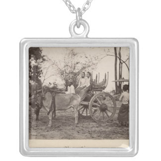 Cart pulled by two oxen at Mandalay, Burma Silver Plated Necklace