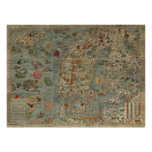 Carta Marina - Ancient Creatures Map of the World Poster