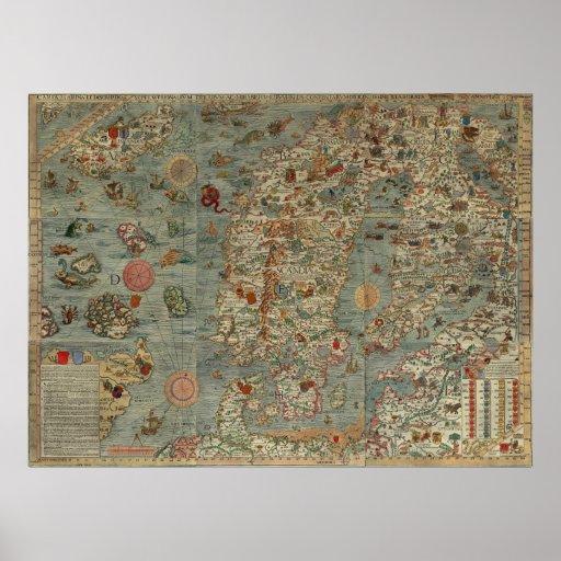 Carta Marina - Ancient Creatures Map of the