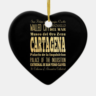 Cartagena City of Colombia Typography Art Ceramic Heart Decoration