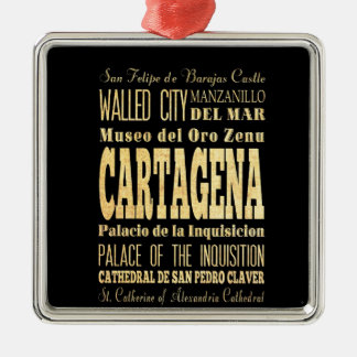 Cartagena City of Colombia Typography Art Christmas Tree Ornament