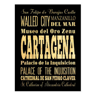 Cartagena City of Colombia Typography Art Postcard