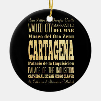 Cartagena City of Colombia Typography Art Round Ceramic Decoration