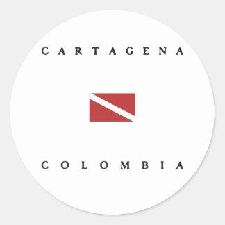 Cartagena Colombia Scuba Dive Flag Classic Round Sticker