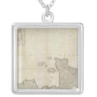 Carte de la France NO Silver Plated Necklace