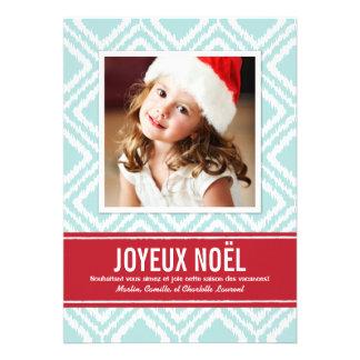 Carte Photo de Noël Rouge et Bleu Motif Ikat Personalized Announcements