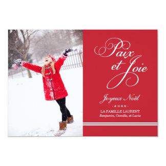 Carte Photo de Vacances | Paix et la Joie en Rouge 13 Cm X 18 Cm Invitation Card