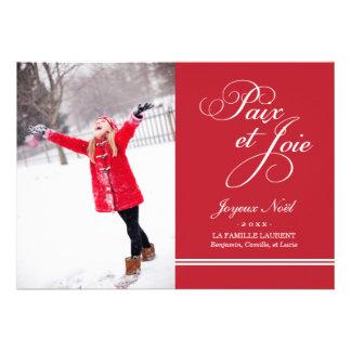 Carte Photo de Vacances Paix et la Joie en Rouge Custom Invitation