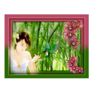 Carte postale japonaise colibri