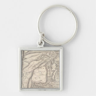 Carte, provinces of Salta in Jujuy Silver-Colored Square Key Ring