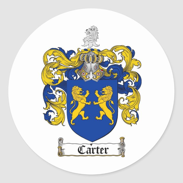CARTER FAMILY CREST -  CARTER COAT OF ARMS ROUND STICKER