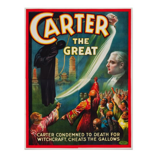 Wall art. Reproduction Magicians advertising poster Carter the Great
