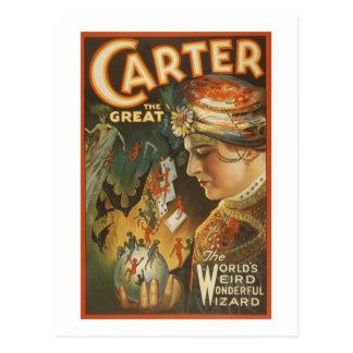 Carter the Great - The World s Weird Wizard Postcard