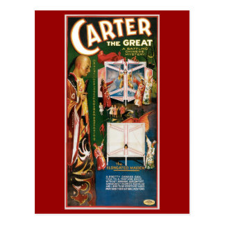 Carter The Great ~ Weird Wizard Vintage Magic Act Postcard