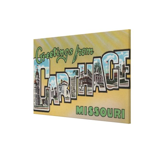 Carthage, Missouri - Large Letter Scenes Gallery Wrapped Canvas