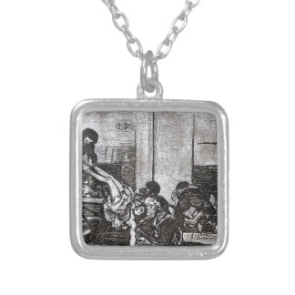 Cartloads to the cemetery by Francisco Goya Square Pendant Necklace