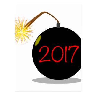 Cartoon 2017 New Year Bomb Postcard