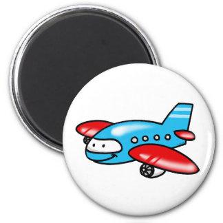 cartoon aeroplane 6 cm round magnet