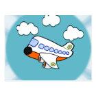 Cartoon Aeroplane in Clouds with Sunburst Postcard