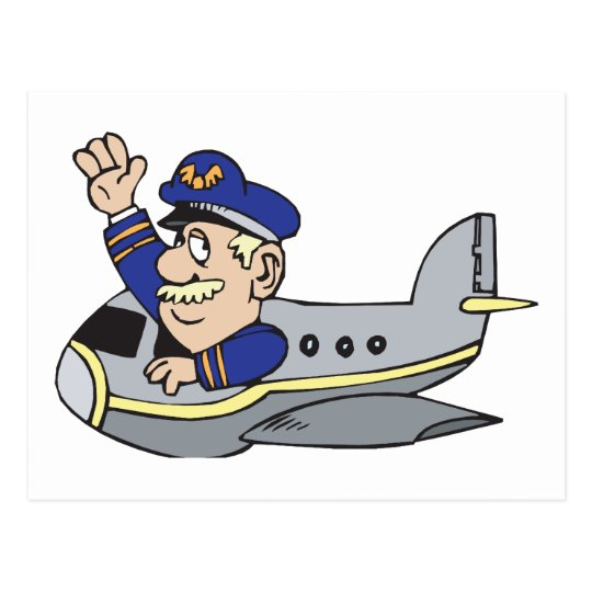 Cartoon Aeroplane Postcard