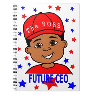 Cartoon African American Boy Future Leader Notebooks