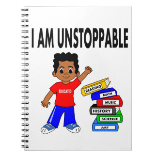 Cartoon African American Boy with Books Notebook