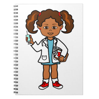 Cartoon African American Girl Doctor with Needle Spiral Note Books