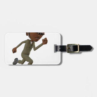 Cartoon African American Soldier Running Luggage Tag