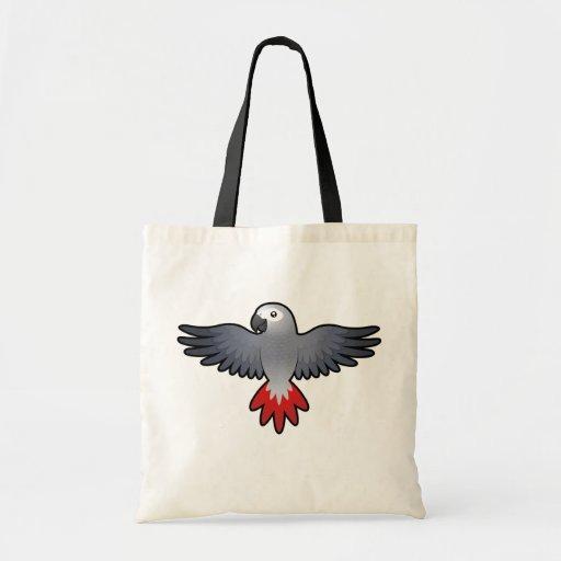 Cartoon African Grey / Amazon / Parrot Canvas Bags