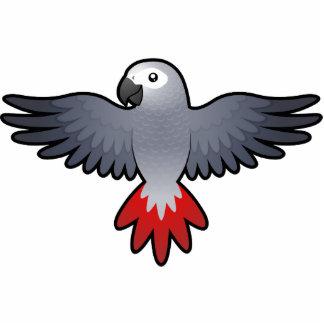 Cartoon African Grey / Amazon / Parrot Photo Sculpture Magnet