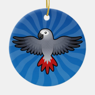 Cartoon African Grey / Amazon / Parrot Round Ceramic Decoration