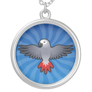 Cartoon African Grey / Amazon / Parrot Silver Plated Necklace