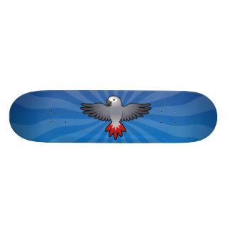 Cartoon African Grey Amazon Parrot Skateboard Deck
