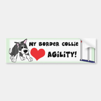 Cartoon Agility Border Collie Bumper Sticker
