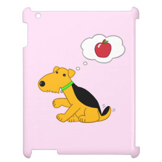 Cartoon Airedale Dog Thinking of Apple iPad Case