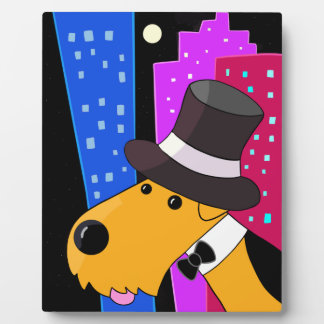 Cartoon Airedale Terrier Dog in the City Plaque