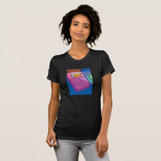 Cartoon Airedale Terrier Dog Sleeping in Bed T-Shirt