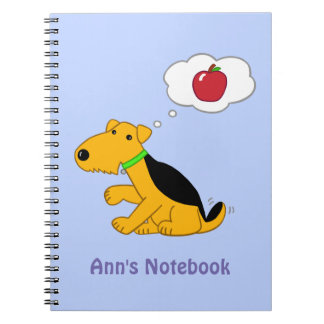 Cartoon Airedale Terrier Dog Thinking of an Apple Note Book