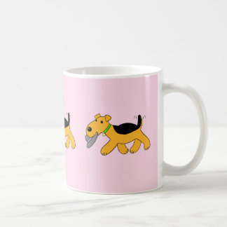 Cartoon Airedale Terrier Dog With a Hat Mug