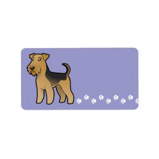 Cartoon Airedale Terrier / Welsh Terrier Address Label
