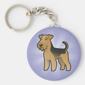 Cartoon Airedale Terrier / Welsh Terrier Basic Round Button Key Ring