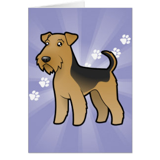 Cartoon Airedale Terrier / Welsh Terrier Card