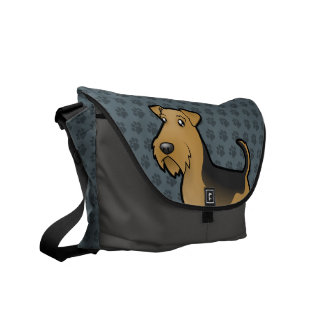 Cartoon Airedale Terrier / Welsh Terrier Courier Bags
