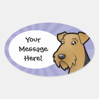 Cartoon Airedale Terrier / Welsh Terrier Oval Sticker