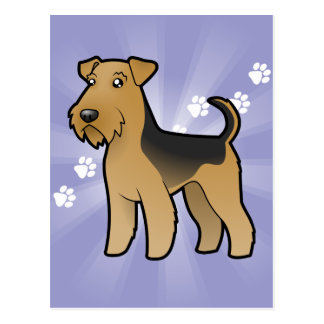 Cartoon Airedale Terrier / Welsh Terrier Postcard