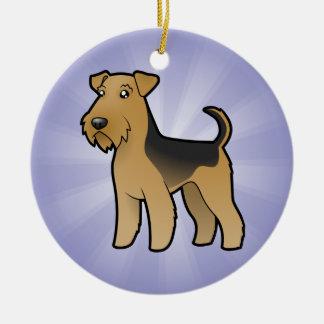 Cartoon Airedale Terrier / Welsh Terrier Round Ceramic Decoration