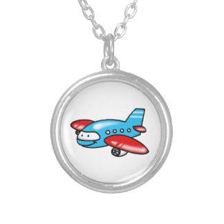 cartoon airplane round pendant necklace