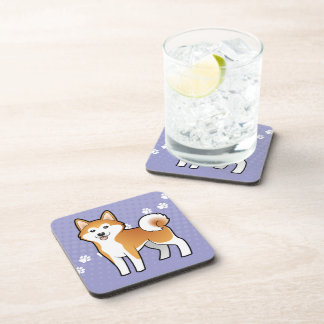 Cartoon Akita Inu / Shiba Inu Drink Coaster