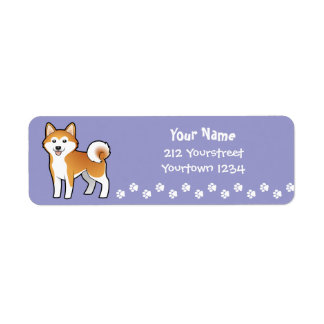 Cartoon Akita Inu / Shiba Inu Return Address Label